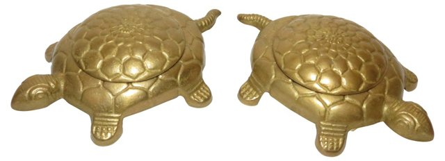 Brass Turtle Boxes, Pair