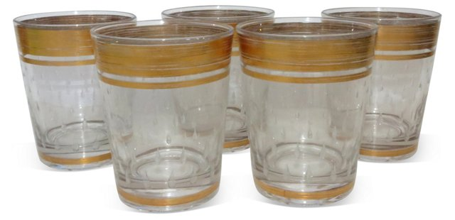 Glasses w/ Gold Bands, S/5