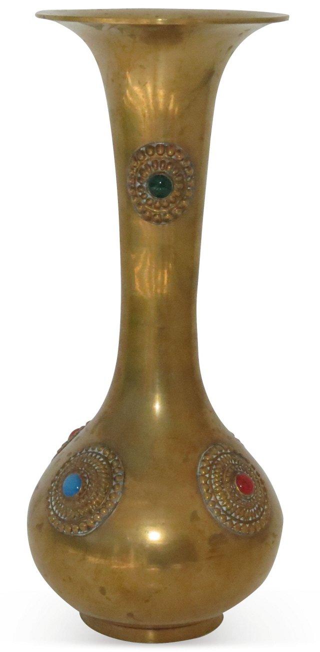 Brass & Jeweled Vase