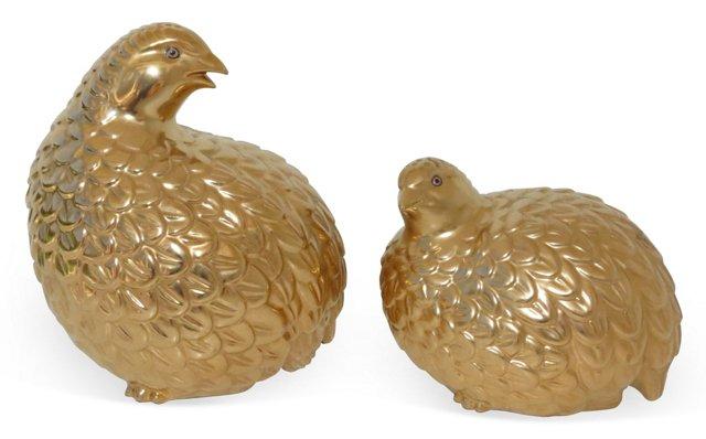 Gold Ceramic Quails, Pair