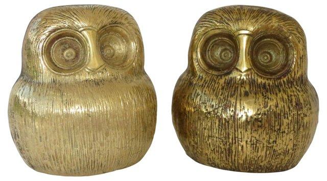Midcentury Brass Owls,   Pair