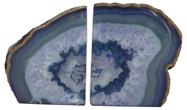 Polished Purple Geode Bookends