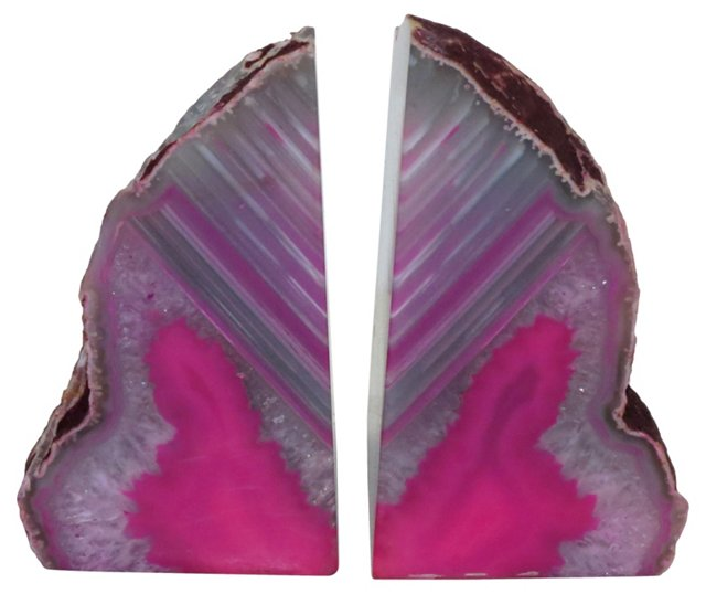 Pink & Gray Crystal Geode Bookends