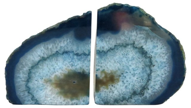 Polished Blue Geode   Bookends