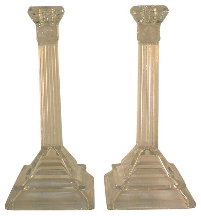 Pressed Glass Column Candleholders, Pair