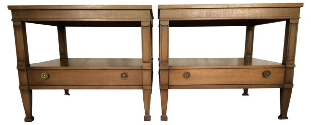 1960s Drexel Walnut End Tables, Pair