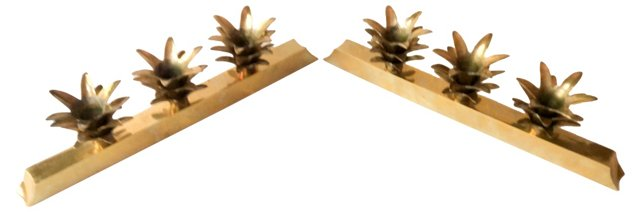 Brass Pineapple Candleholders, Pair