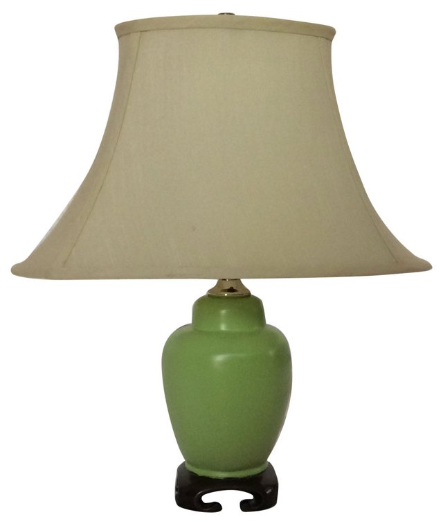 1970s Jade Brass Lamp