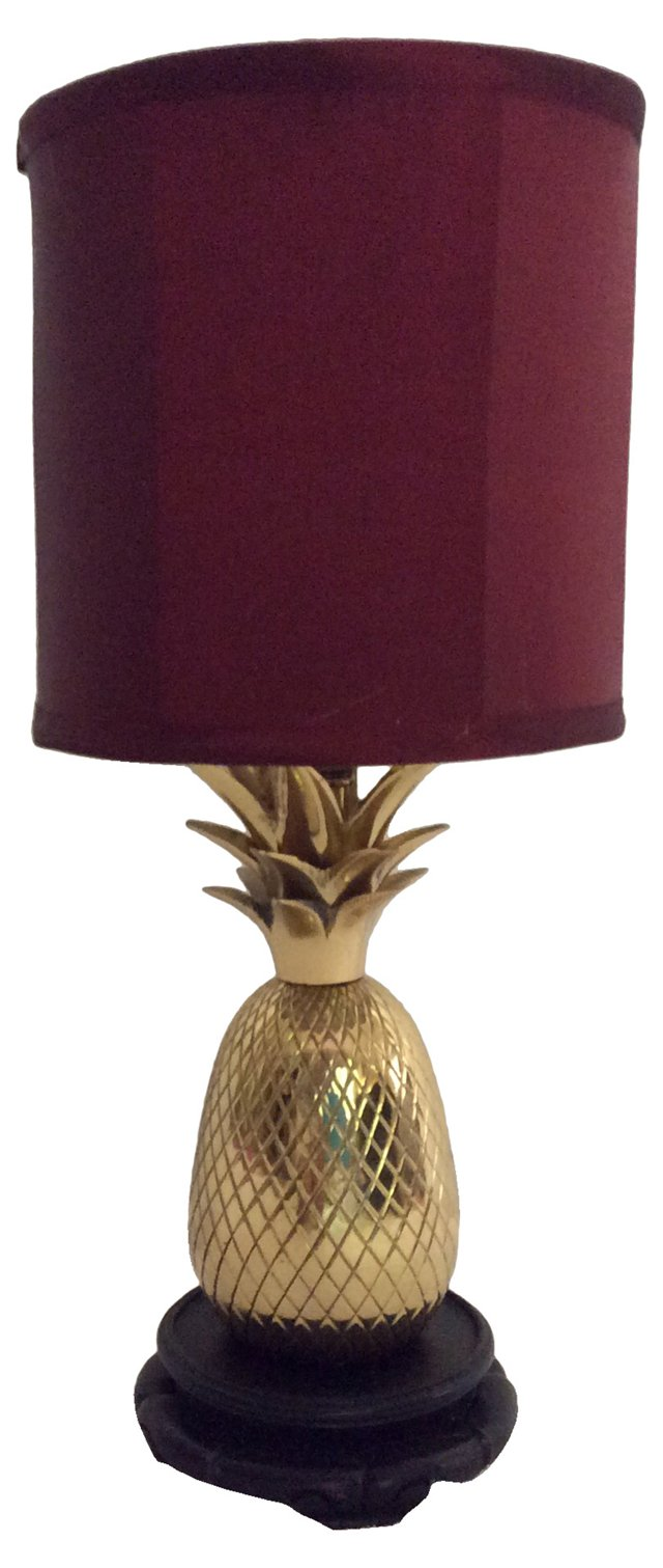 1970s Pineapple Brass Lamp
