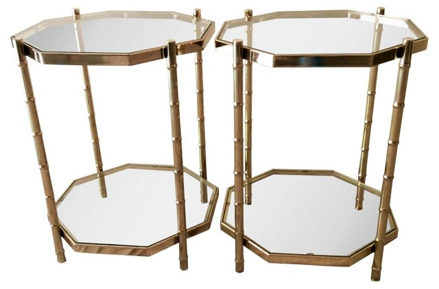 Bamboo Brass and Glass Style Side Tables