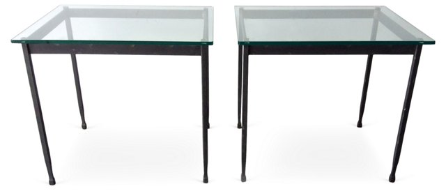 Iron & Glass Side Tables, Pair