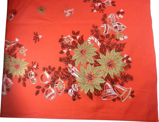 Poinsettia Border Tablecloth