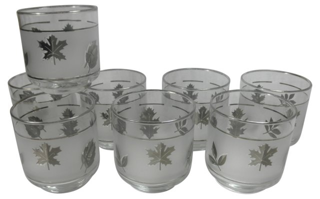 Glasses w/ Silver Leaves, S/8