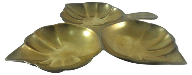 Brass Divided Leaf Dish