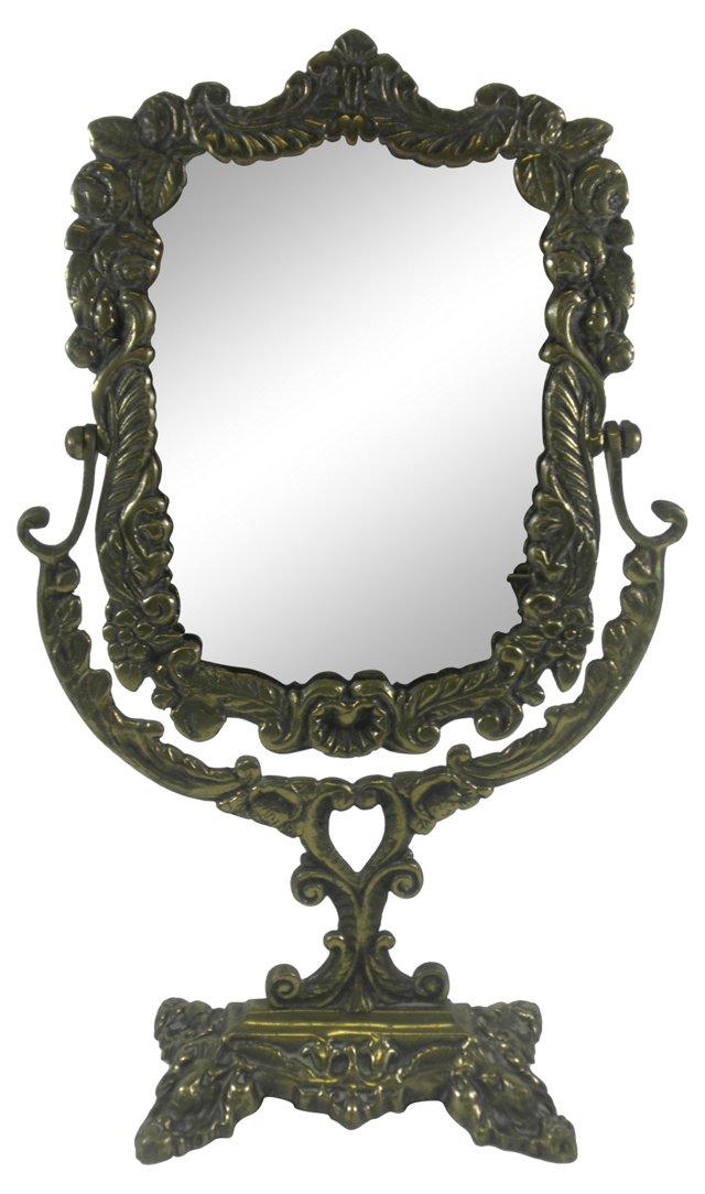 Ornate Brass Dresser Mirror