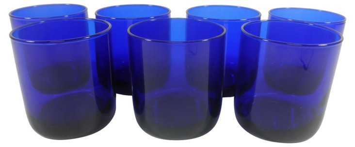 Cobalt Double Old-Fashioned Glasses, S/7