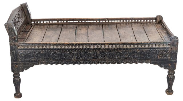 19th-C. Indian Carved Rosewood Bed