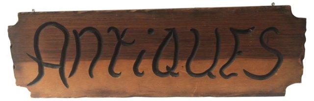 Wood Antiques Sign