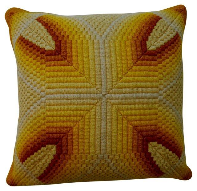 Yellow Bargello Needlepoint Pillow