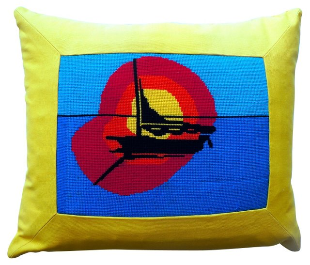 Sailboat Needlepoint Pillow