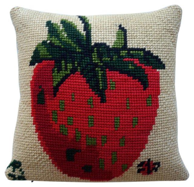 Strawberry Needlepoint Pillow