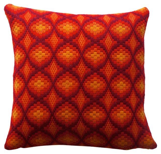 Orange & Red Bargello Pillow