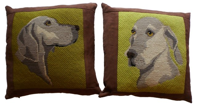 Dog Needlepoint Pillows, Pair