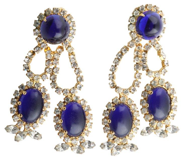 1960s KJL Faux-Lapis Earrings