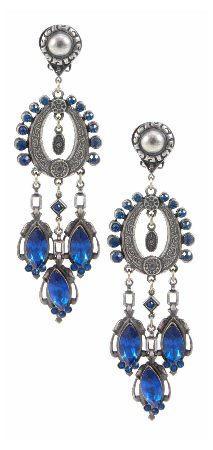 Silver & Blue Chandelier Earrings