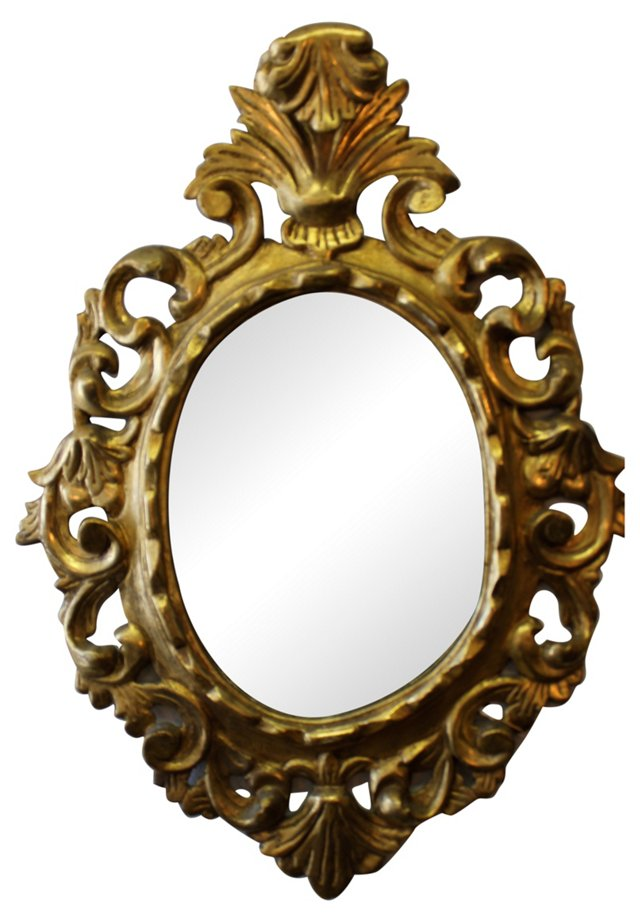 Gold Leaf Mirror w/ Crest