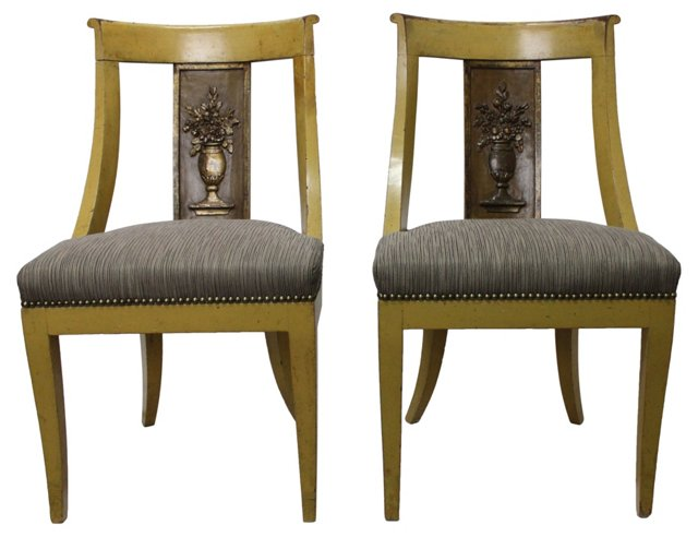 19th-C. French Empire  Chairs, Pair