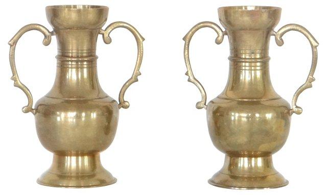 Brass Trophy Urn Vases, Pair