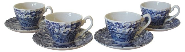 Staffordshire Cups & Saucers,   S/4