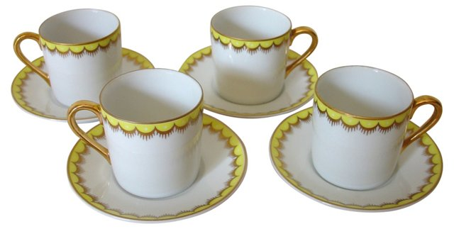 Gilded Demi Cups & Saucers, S/4