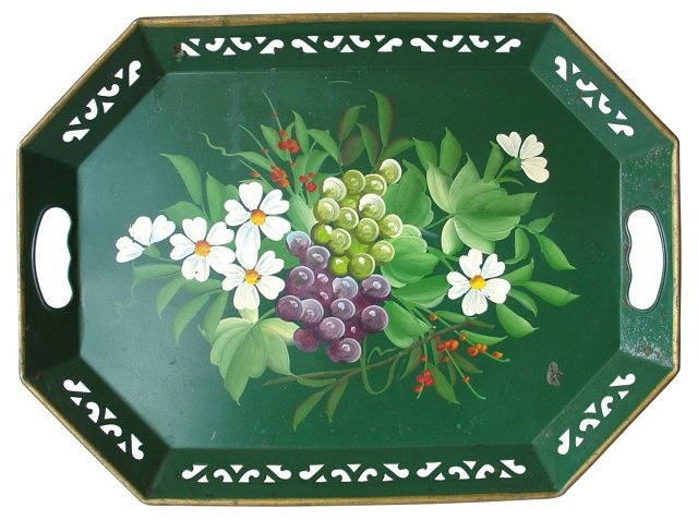 Green Tole Tea Tray