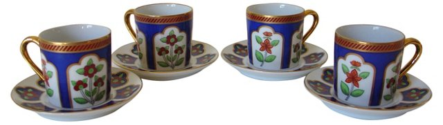 Deco Demitasse Cups & Saucers, S/4