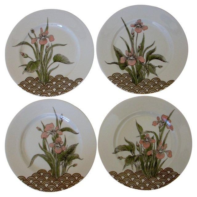 Fitz & Floyd Iris Plates, Set of 4