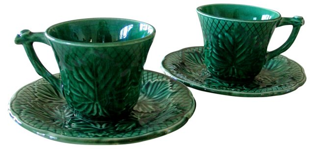 Gien Majolica  Cups & Saucers, Pair