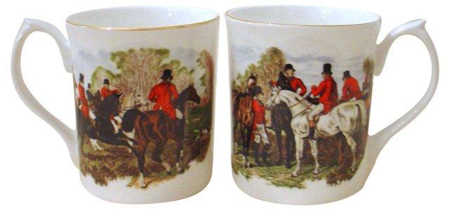 English Equestrian Mugs, Pair