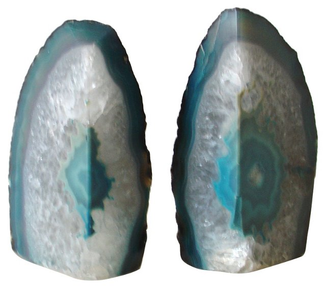Aqua Geode Bookends