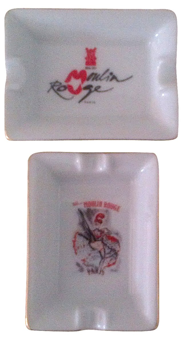 Limoges Moulin Rouge Ashtrays, Pair