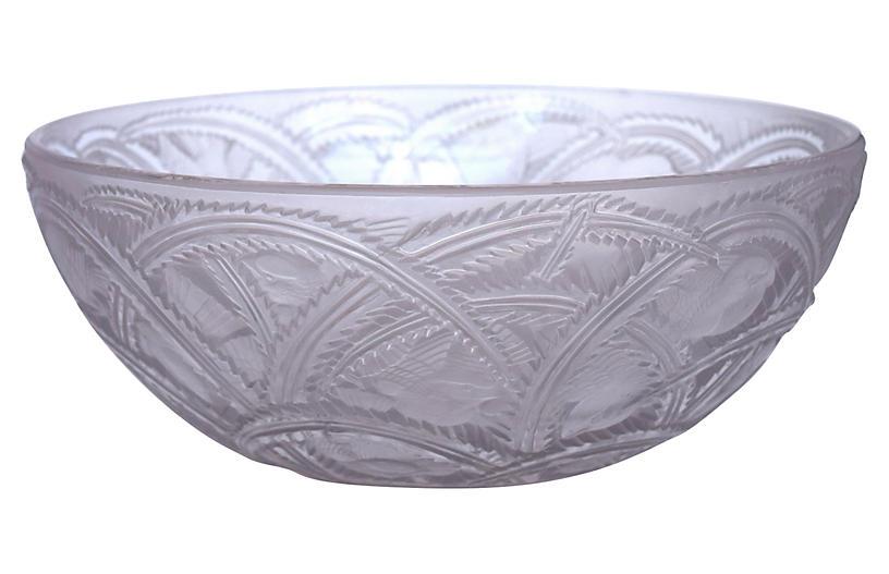 Lalique France Crystal Sparrows Bowl