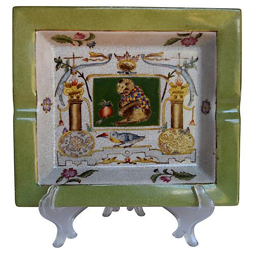 French Monkey Porcelain Ashtray