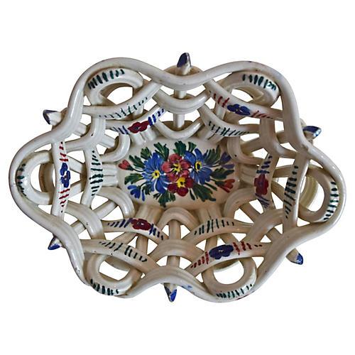Italian Ceramic Woven Basket