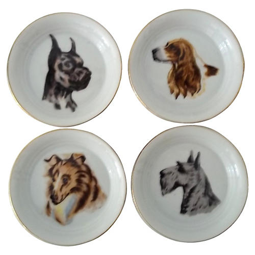 Dog Trinket Trays, Set of 4