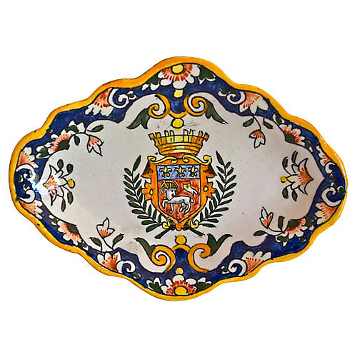 French Faience Armorial Dish