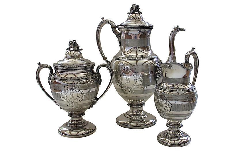 3-Pc Reed & Barton Silver-Plate Tea Set