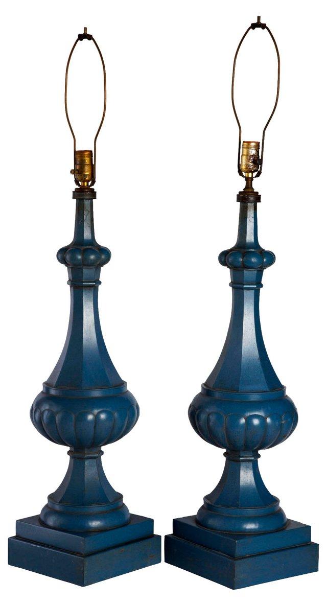 Tall Blue Metal Lamps, Pair
