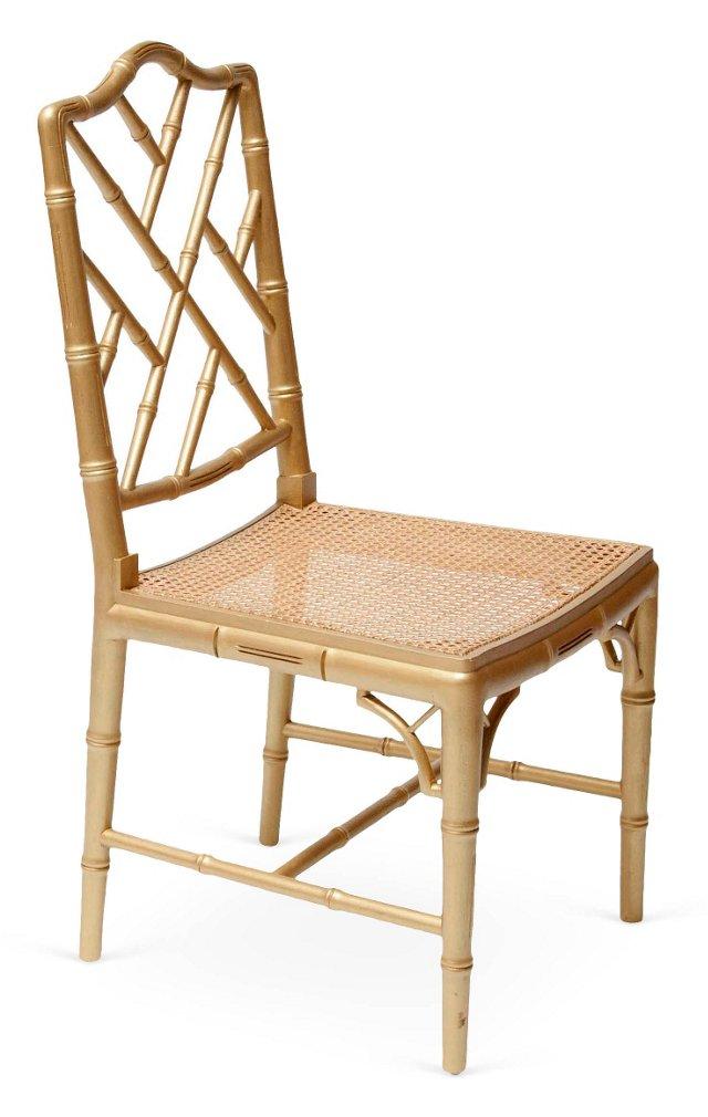 Gold-Tone Fretwork Chair