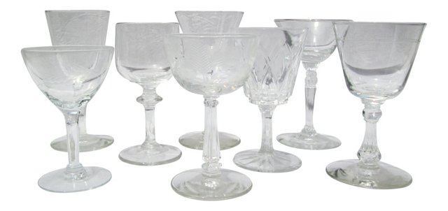 Crystal Sherry Glasses, S/8